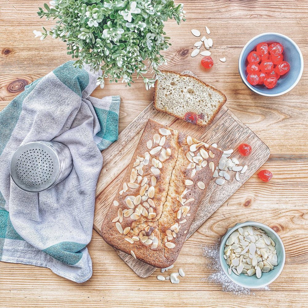 Almond and Cherry loaf cake