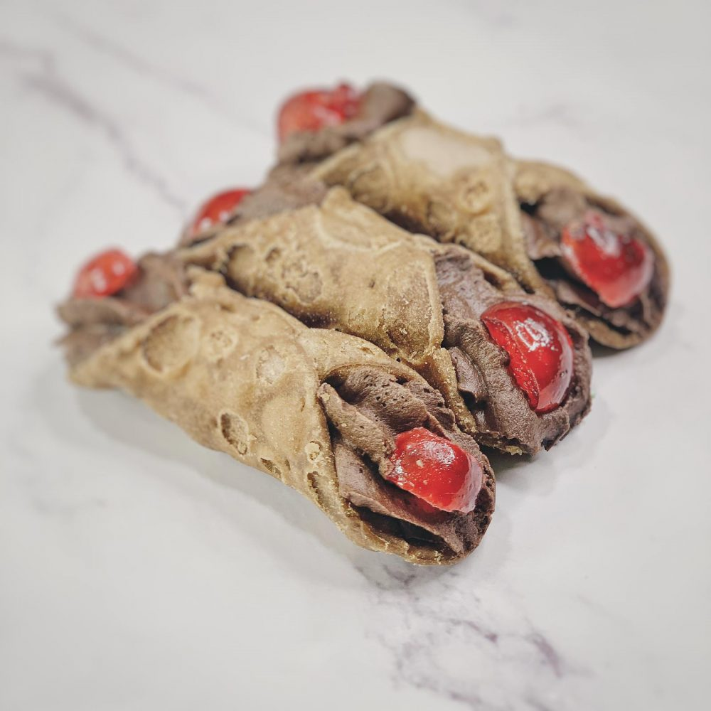 Cremoloso gelato sicilian cannoli chocolate cherry
