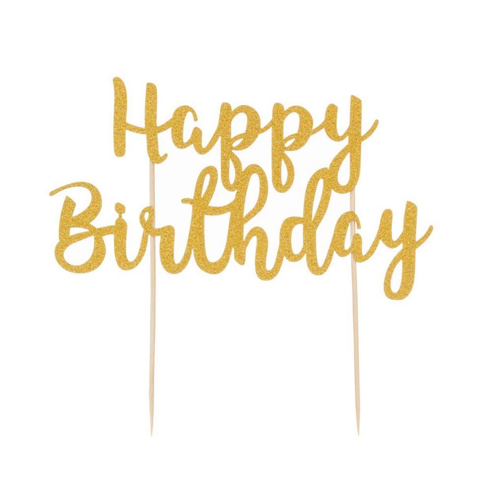 Happy Birthday topper cake gold glitters